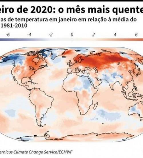 Janeiro de 2020 é o mês mais quente da história.