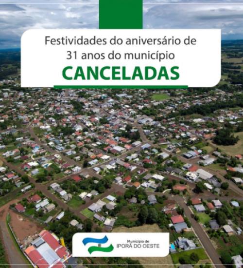 Iporã do Oeste cancela festividades dos 31 anos do município