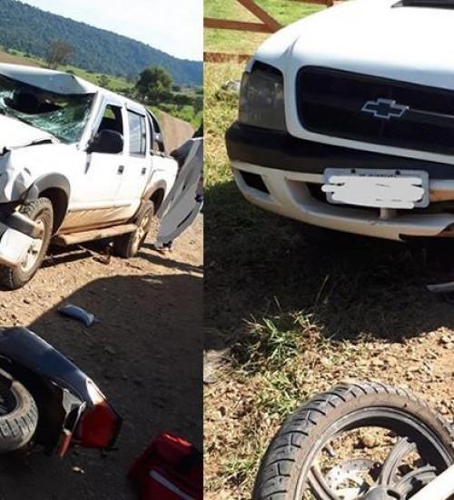 Motociclista ferido grave em acidente no interior de Itapiranga.
