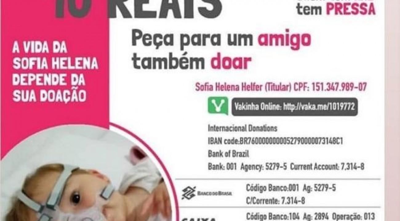 Sofia Helena: bebê diagnosticada com AME precisa de tratamento que custa R$2,1 milhões de dólares.