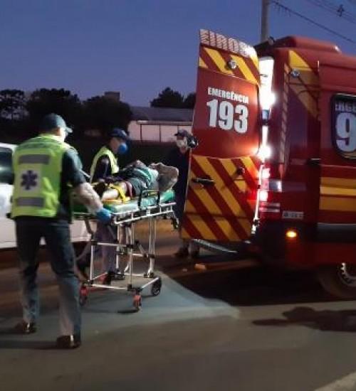 Homem fica ferido em acidente de trânsito na SC-163, no Bairro Santa Rita