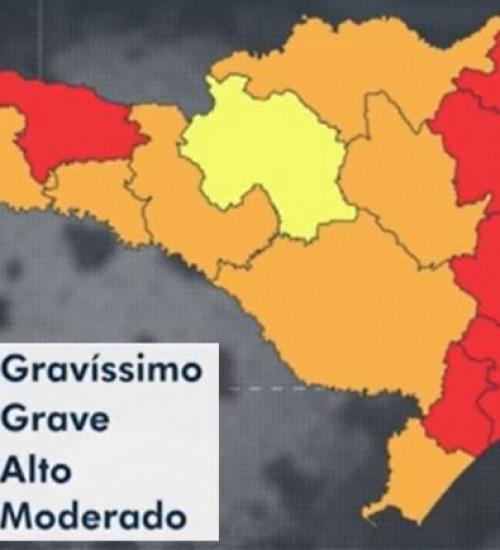 Sete regiões estão em nível gravíssimo de risco para coronavírus em SC.
