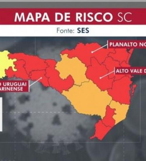 Sobe para 12 o número de regiões de SC em situação gravíssima por causa da Covid-19.