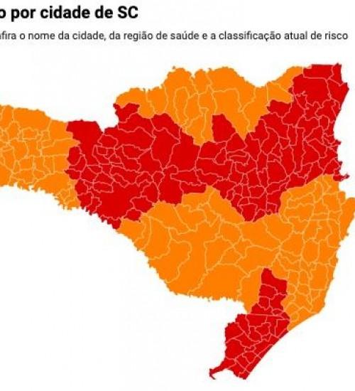 Número de regiões em risco gravíssimo para coronavírus cai de 12 para oito em SC.