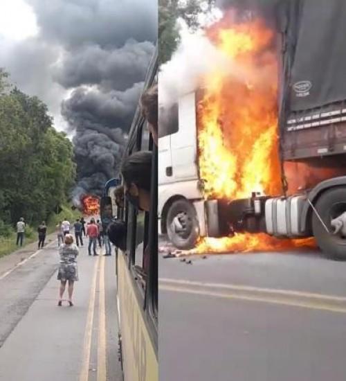 Bitrem é destruído por incêndio na BR-282