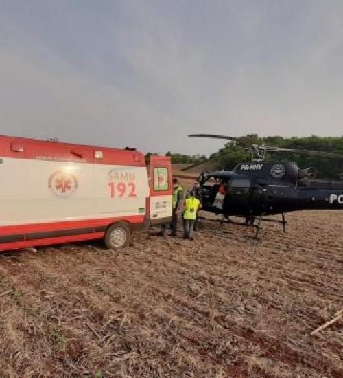 Homem fica ferido após mergulho em cachoeira em Maravilha e é transferido de helicóptero para Chapecó