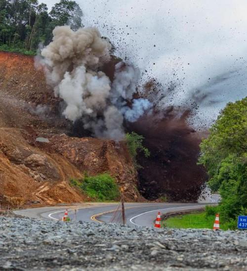 DNIT alerta para detonação de rochas na BR-282, no Oeste de Santa Catarina.