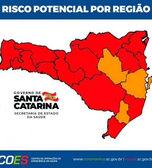 Matriz de Risco aponta 13 regiões em estado gravíssimo em SC.