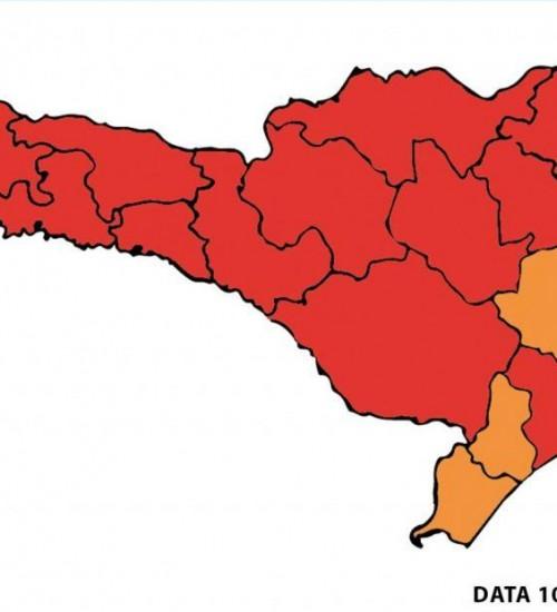 Quatro regiões de SC baixam para nível grave da Covid-19.