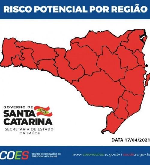 Santa Catarina volta a ter todas as regiões no nível gravíssimo.