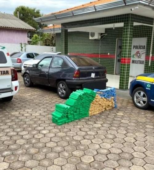 Ação conjunta da PRF e PM apreende 167 quilos de maconha em Pinhalzinho.
