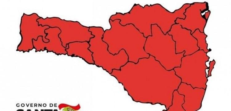 Matriz de risco da Covid-19 em SC aponta todas as regiões em vermelho.
