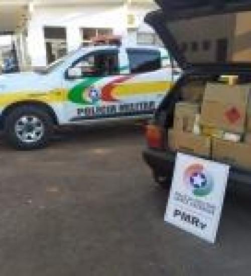 PMRV flagra veículo transportando mais de R$ 20 mil em mercadorias da Argentina na SC-163, em Iporã do Oeste.